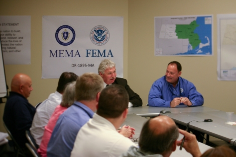 Andover, MA, April 28, 2010 -- Deputy Administrator Richard Serino meets Wednesday with staff at the FEMA-1895-DR JFO in Andover, Massachusetts. Serino thanked the staff and highlighted that more than $30 million in aid has been provided to survivors since the declaration just over a month ago. FEMA/David Bibo